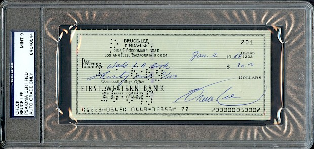 Bruce Lee Signed Check