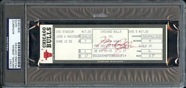 Michael Jordan Signed Ticket