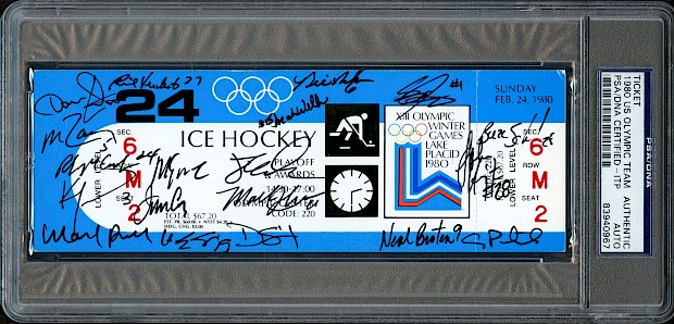 "1980 US Olympic Team Autographed ""Miracle On Ice"" Ticket"