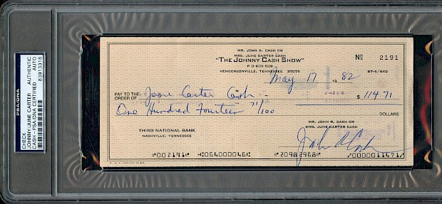 Johnny Cash &June Carter Signed Check