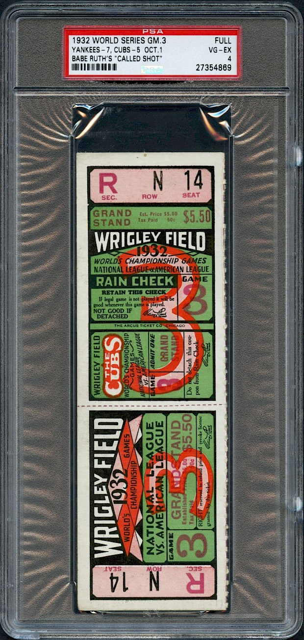 "1932 Babe Ruth ""Called Shot"" Game - World Series Full Ticket"