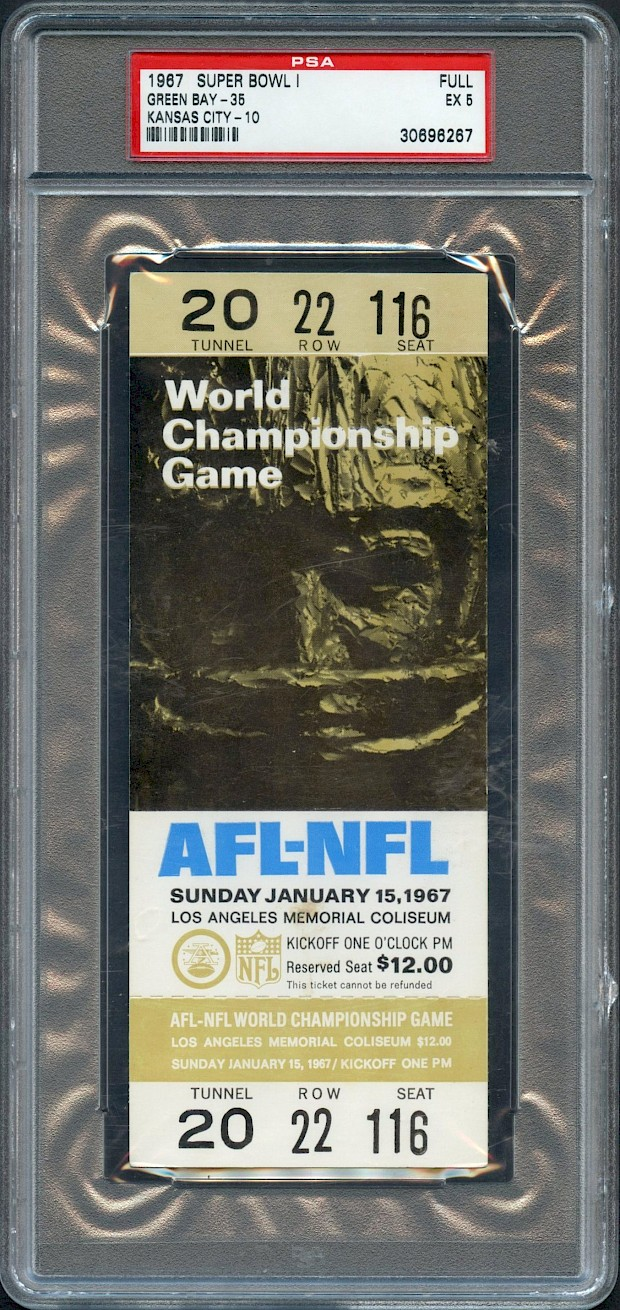 Superbowl 1 Full Unused Ticket